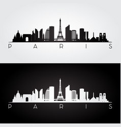 paris skyline and landmarks silhouette vector image