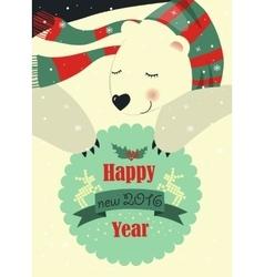 Polar bear wishing you Merry Christmas vector image