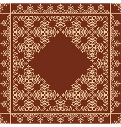 quadratic brown background with beige ornament vector image vector image