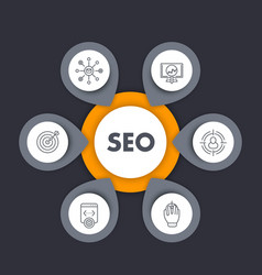 seo infographics template with line icons vector image