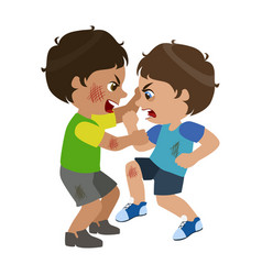 two boys fighting and scratching part of bad kids vector image