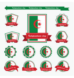 algeria independence day flags infographic design vector image