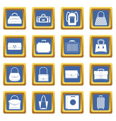 bag baggage suitcase icons set blue vector image