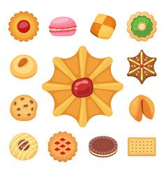 Different cookie cakes top view sweet food tasty vector