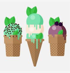 mint ice cream cone mint ice cream scoop in cone vector image vector image