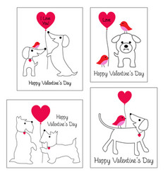 valentines day graphics with cute dogs vector image