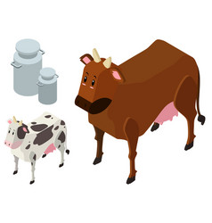 3d design for two cows and milk tanks vector image