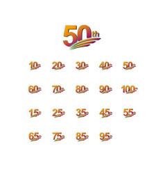 50 th anniversary elegant celebration set vector
