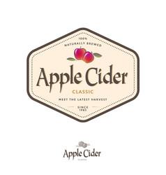 Apple cider label light low-alcohol drink vector