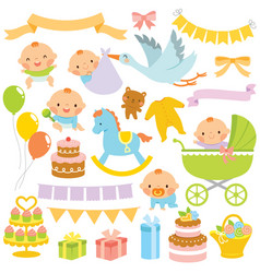 baby shower clipart set vector image