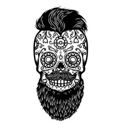 bearded sugar skull design element for poster vector image
