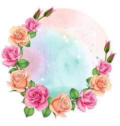 beautiful watercolor pink rose frame wreath vector image