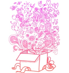 Big present box full of toys sketchy doodle vector image vector image