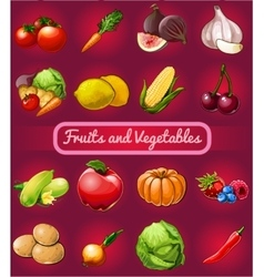 Big set of fruits and vegetables 16 icons vector image