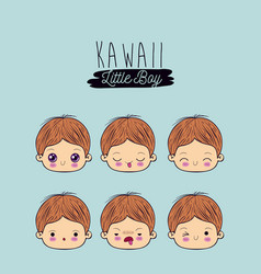 blue background set facial expression kawaii vector image