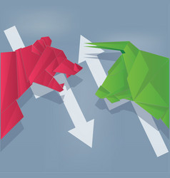 Bull and bear paper art green and red with arrow vector