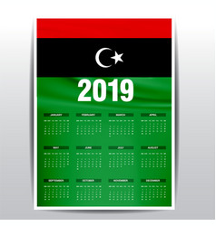 Calendar 2019 libya flag background english vector