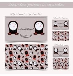 Cards Clocks from Wonderland vector