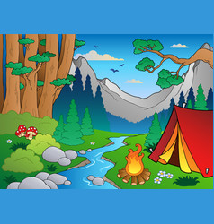Cartoon forest landscape 4 vector
