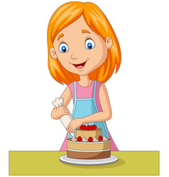 cartoon girl decorating a cake vector image