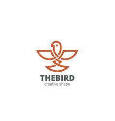 celtic abstract bird logo design template linear vector image