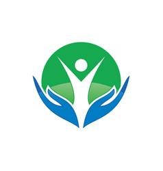 circle human hand logo image vector image