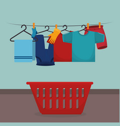 clothes hanging laundry service vector image