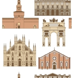colored background with famous Milan vector image