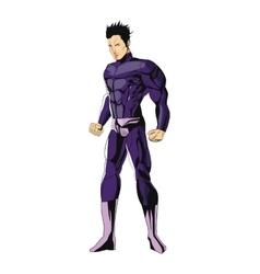comic style male superheroe with purple uniform vector image