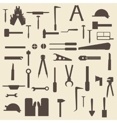 Construction tools silhouette icons set Perfect vector