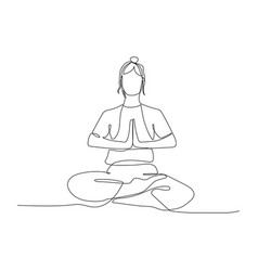 Continuous one line woman sitting in lotus vector