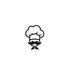 creative chef head moustache logo design vector image