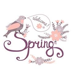 Cute cartoon bird on flowers in Stylish floral vector image