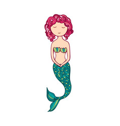 Cute little mermaid lovely siren vector