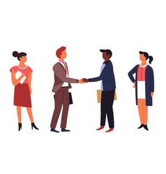 dealing handshake gesture businessmen and vector image