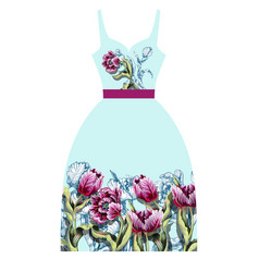 Design dress with tulips flowers vector
