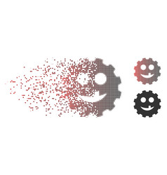 Disintegrating pixel halftone tooth smiley gear vector