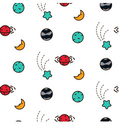 doodles cosmic seamless pattern vector image