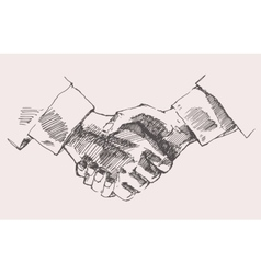 Drawing Shake Hands Partnership Sketch vector image