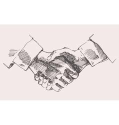Drawing Shake Hands Partnership Sketch vector image