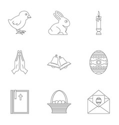 Easter day icon set outline style vector