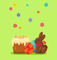 easter festive concept with traditional meals vector image