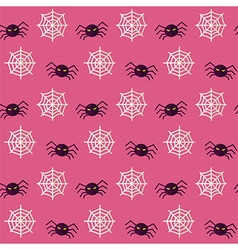 Flat Seamless Scary Spider Halloween Pattern vector image