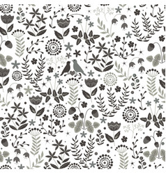 Floral seamless pattern with cute birds couple on vector