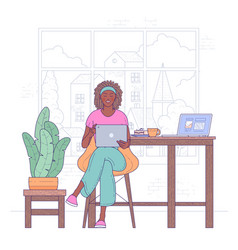 freelancer woman work from home vector image