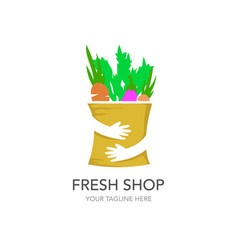 fresh shop shopping logo design template hands vector image