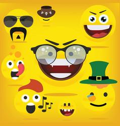 Funny happy yellow emojismiley emoticons vector