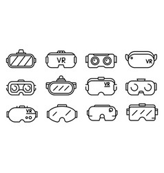 game goggles icons set outline style vector image