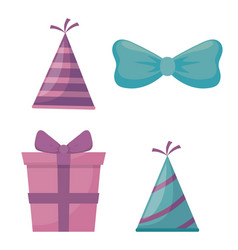 gift box present and accessories of party vector image