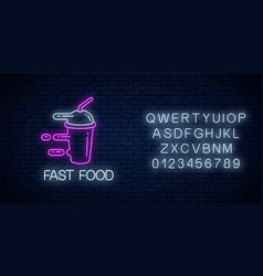 glowing neon fast food sign with hurrying vector image